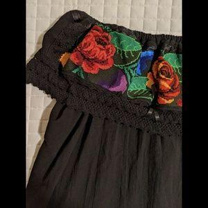 Handmade Black Mexican Off the Shoulder Shirt